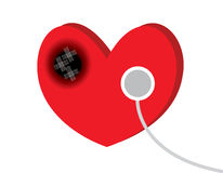 Heart. The heart disease with stethoscope Stock Photos