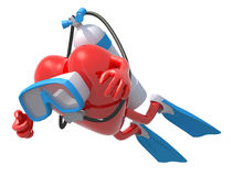 Heart with diving goggles and flippers. 3d illustration Stock Image