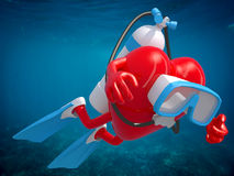 Heart with diving goggles and flippers Stock Photo
