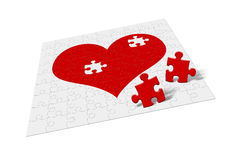 Heart - divorce. Heart - puzzle. Two fragments of heart symbolize attitudes - divorce Stock Photo