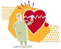 Heart doctor. Vector illustration of a doctor examining a big broken heart Stock Photos