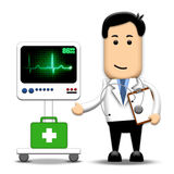 Heart Doctor. A heart doctor wearing a stethoscope, standing beside an ECG (heartbeat) machine Stock Image
