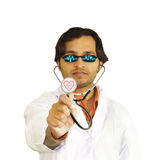 Heart doctor. A heart doctor  isolated on white background. His glasses and stethoscope with heartbeat graph Stock Photo