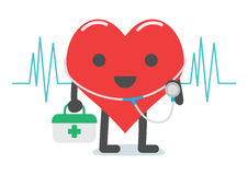 Heart doctor character cartoon. Holding pill box and have stethoscope for medical examination stock illustration