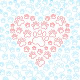 Heart with dog or cat paws background. Vector Royalty Free Stock Photography