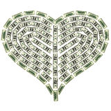 Heart from dollar Stock Photography