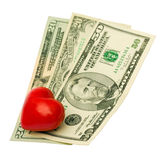 Heart dollar Stock Photography
