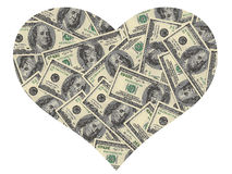 Heart of the dollars. On a white background Stock Photos