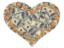 Heart of the dollars. On a white background Royalty Free Stock Photos