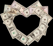 Heart from dollars black Royalty Free Stock Images