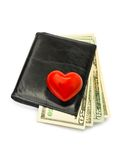 Heart on dollars in black wallet Stock Photography