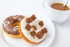 Heart donuts and coffee Royalty Free Stock Image