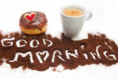 Heart donuts and coffee. Heart sweet chocolat donuts with coffee breakfast Royalty Free Stock Photography