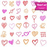 Heart doodle set Stock Images
