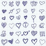 Heart doodle set Royalty Free Stock Photo