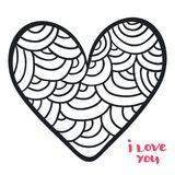 Heart in doodle style. Vector illustration for coloring book. Valentine day background. Heart in doodle style. Vector illustration for coloring book. Valentine stock illustration