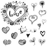 Heart doodle vector set Stock Images