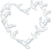 Heart Dove. A unique formation of doves forming a heart shape, representing love and peace vector illustration