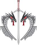 Heart of dragons and fantasy sword Royalty Free Stock Photography