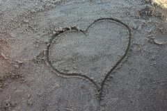 Heart draw in beach sand. Design of Heart draw in beach sand Stock Photos