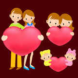 Heart draw closer to one's breast a household. A family Characte Stock Photo