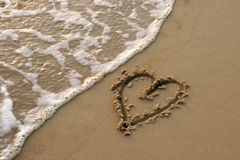 Heart draw in the sand Royalty Free Stock Photos