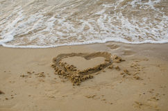 The heart draw in the sand on the beach Royalty Free Stock Photography
