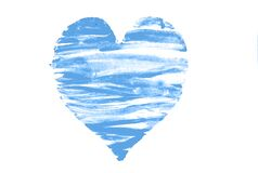 heart drawing with blue paint on paper