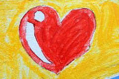 Heart Drawing on Concrete Wall Background. Stock Image