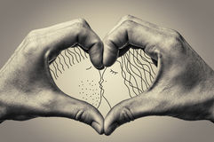 Heart with drawing Stock Image