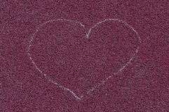 Heart drawing on the ground. Childhood memories stock photo