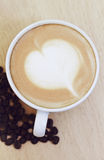 Heart drawing on latte art coffee. Love cup , heart drawing on latte art coffee Royalty Free Stock Photography