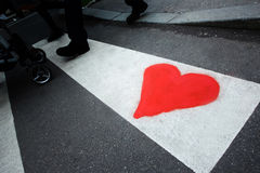 Heart drawing on pedestrian crossing Stock Photography