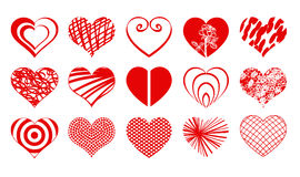Heart Drawings Vector Valentine Icon Set02. Set02 of vector valentine heart icons drawings doodles in red color Stock Images