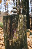 Heart drawn above trunk with three stones at the top, in the woo. Purple colored heart drawn above trunk with three stones at the top, in the woods Stock Photo