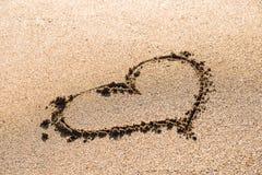 Heart Drawn On Beach Sand Royalty Free Stock Photos