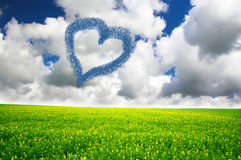 Heart drawn in clouds Royalty Free Stock Image