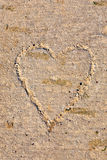 Heart drawn in concrete pathway Royalty Free Stock Image