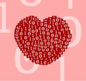 Heart drawn of digital binary zero one text on red squares beautifully on pink background plain clear vector illustration. For valentine day computer graphic Royalty Free Stock Images
