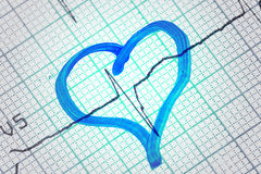 Heart drawn on electrocardiogram Stock Image