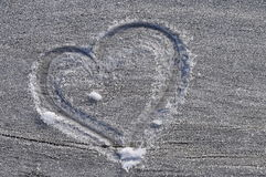 Heart drawn in the frost Royalty Free Stock Photos