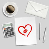 Heart drawn in lipstick Royalty Free Stock Photography