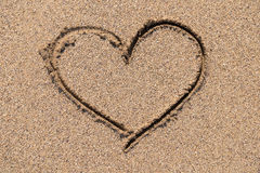 Heart Drawn On Ocean Sand Stock Image