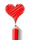 Heart drawn in pencil Stock Photo