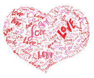 Heart drawn by pencil filled with love words Royalty Free Stock Photos