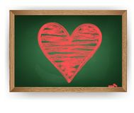 Heart drawn in red chalk Royalty Free Stock Image