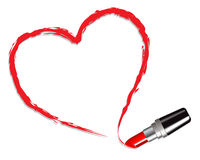 Heart drawn with red lipstick Royalty Free Stock Image
