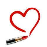Heart drawn red lipstick. Royalty Free Stock Photo