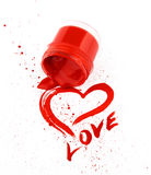 Heart drawn by a red paint Royalty Free Stock Photo