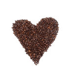 Heart drawn with roasted coffee beans Stock Photos